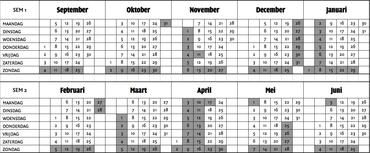 kalender schoolvakanties 2017
